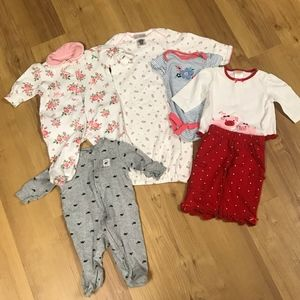 Girls 0-3 Months Bundle-Onesies, outfit, PJ's